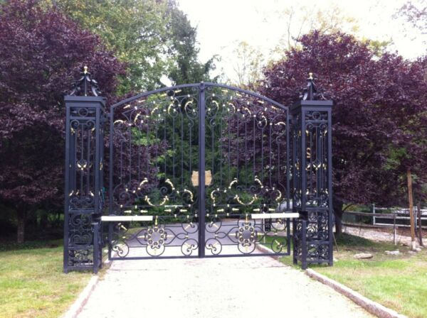 MASSIVE ESTATE HAND WROUGHT IRON MONUMENTAL DRIVEWAY GATES #ASG3