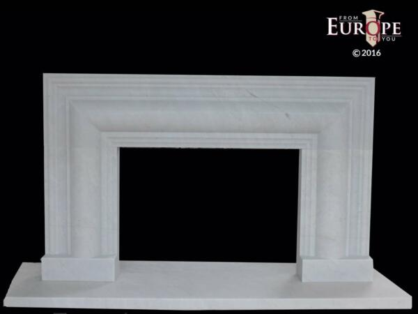 LARGE WHITE HAND CARVED MODERN DECO STYLE  FIREPLACE MANTEL - CWFM1