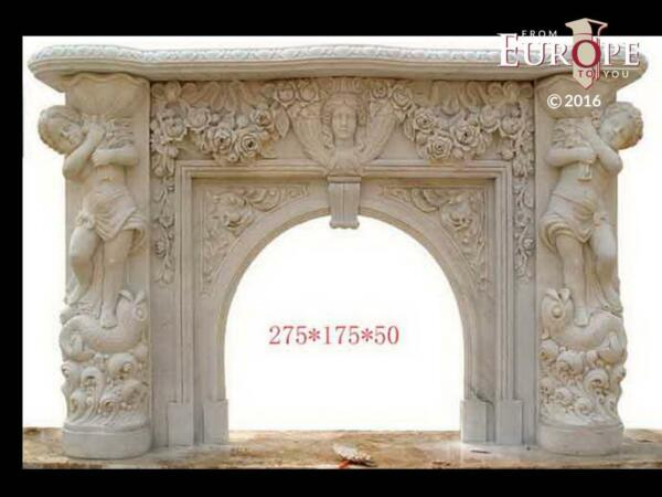 BEAUTIFUL HAND CARVED VICTORIAN STYLE SOLID MARBLE FIREPLACE MANTEL - LST45