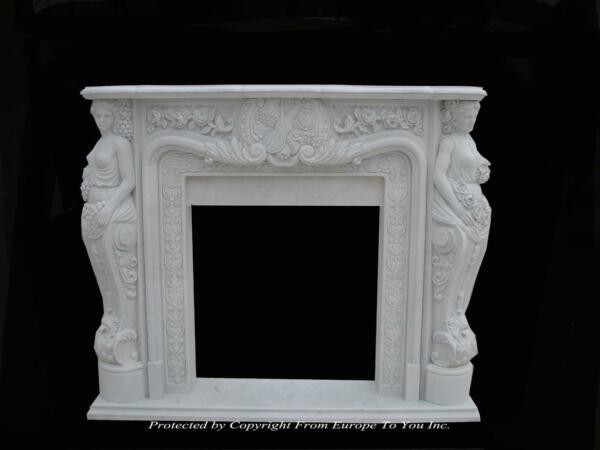 BEAUTIFUL HAND CARVED SOLID MARBLE ESTATE FIGURAL FIREPLACE - LST30