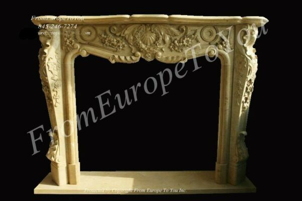 GREAT HAND CARVED MARBLE FRENCH STYLE FIREPLACE MANTEL.