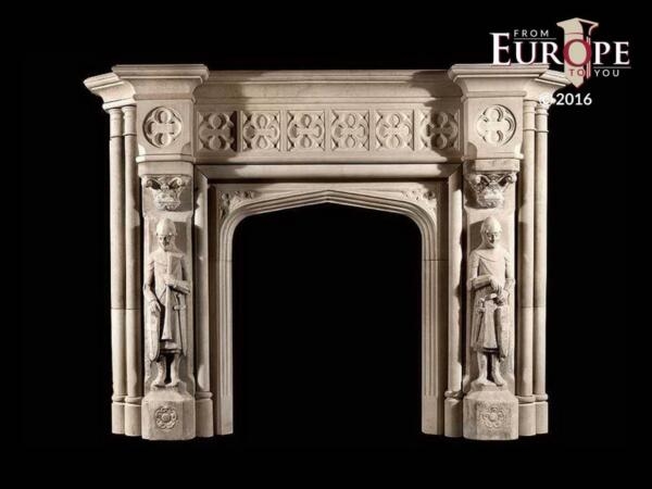 BEAUTIFUL HAND CARVED VICTORIAN STYLE SOLID MARBLE FIREPLACE MANTEL - LST8