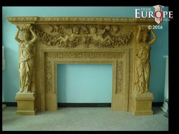 BEAUTIFUL HAND CARVED VICTORIAN STYLE SOLID MARBLE FIREPLACE MANTEL - LST4