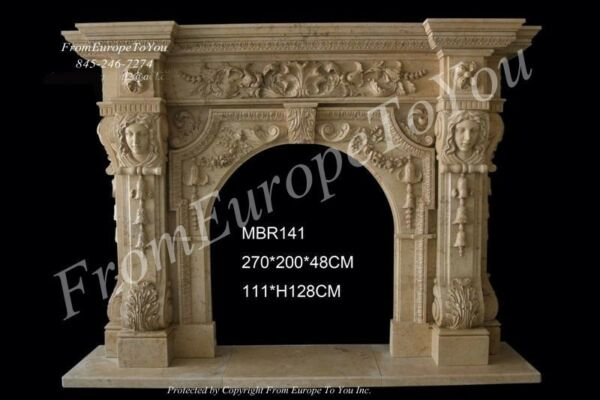 GREAT FIGURAL HAND CARVED MARBLE FIREPLACE MANTEL