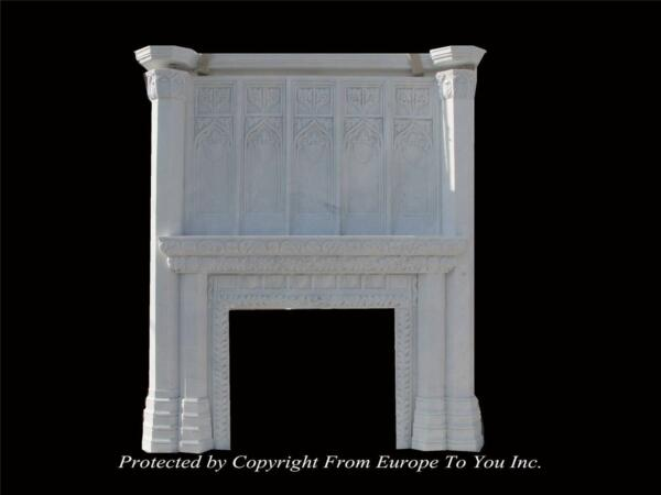 GREAT CARVED GOTHIC HAND CARVED MARBLE MONUMENTAL FIREPLACE MANTEL - FPM622