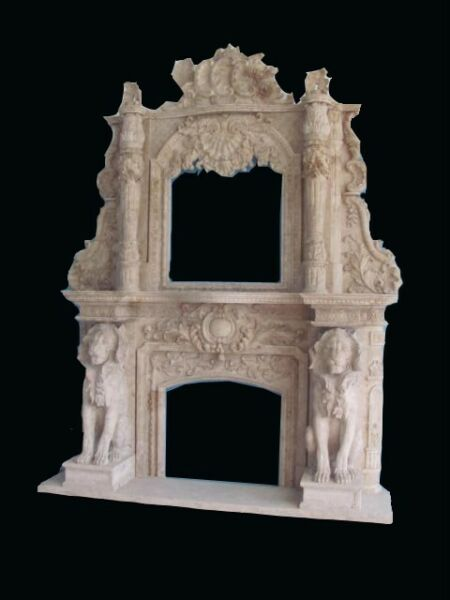 MONUMENTAL HAND CARVED MARBLE FIREPLACE MANTEL FPM64