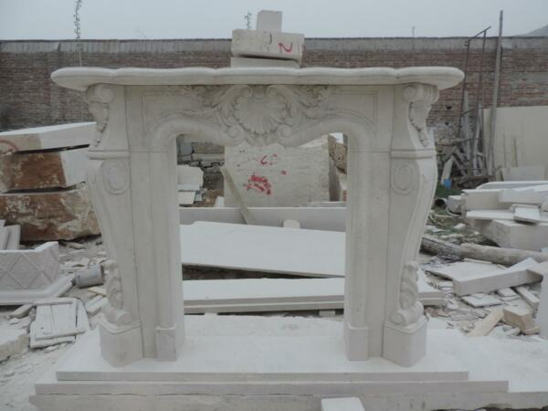 HAND CARVED LIGHT TRAVERTINE ESTATE FRENCH STYLE MARBLE FIREPLACE MANTEL - TM1