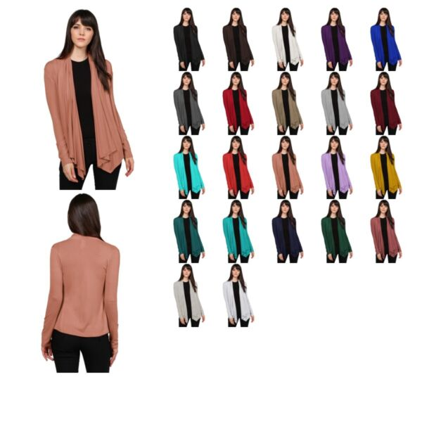 FashionOutfit Women#x27;s Solid Jersey Knit Draped Open Front Long Sleeves Cardigan