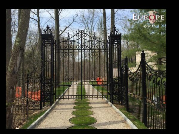 MONUMENTAL HAND MADE WROUGHT IRON GOTHIC DESIGN DRIVEWAY GATES - ASG1