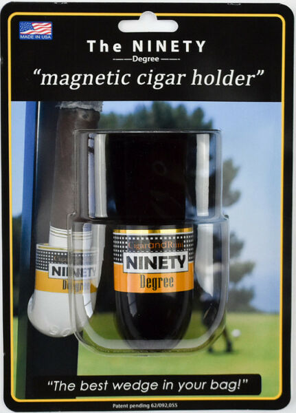 The Ninety Degree Wedge Magnetic Cigar Holder - Great for Golf Carts! - Black