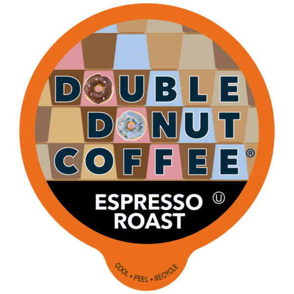 Double Donut Espresso Roast Coffee in Recyclable Single Serve Cups 80 Count