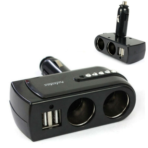 2Way Car Cigarette Lighter Dual USB Socket Splitter Auto Charger Adapter Voltage