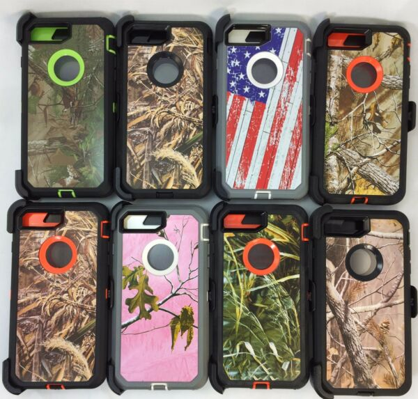 For Apple iPhone 8 Plus Camo Cover Case Belt Clip Fits Otterbox Defender Series $10.99
