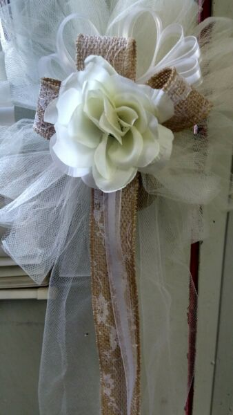 BURLAP 6 PC IVORY WEDDING PEW BOWS WITH BURLAP amp; LACE RUSH ORDERS AVAILABLE