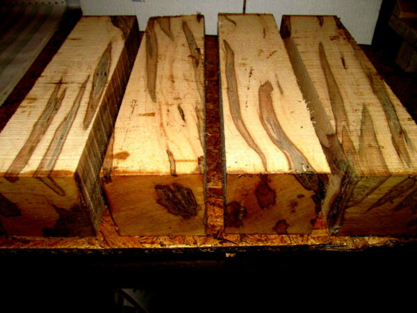 FOUR 4 AMBROSIA MAPLE TURNING BLOCKS LUMBER LATHE CARVE WOOD 3quot; X 3quot; X 12quot; $49.95