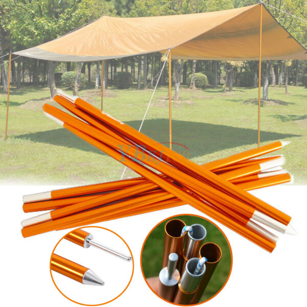5 Sections Φ16mm Tarp Shelter Canopy Tent Awning Support Rod Porch Poles 2pcs