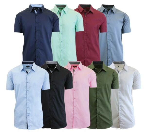 Mens Short Sleeve Shirt Plaid Gingham Check Slim Fit Dress Casual Button Down