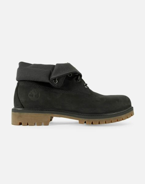 {A1S5P} Men#x27;s Timberland 6 inch Roll Top Boots Black *NEW* MSRP: $130 $78.00