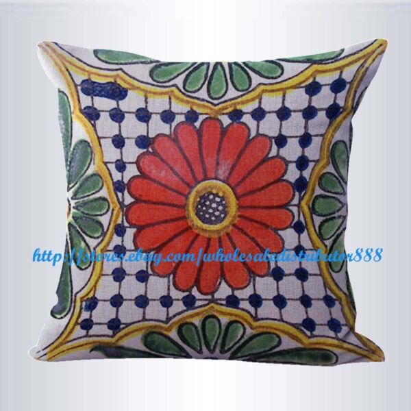 patio furniture cushion covers Mexican Spanish talavera cushion cover $14.99