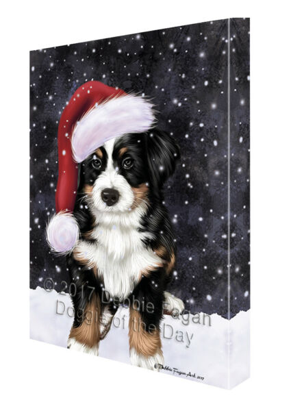 Let it Snow Christmas Holiday Bernese Dog Wearing Santa Hat Canvas Wall Art