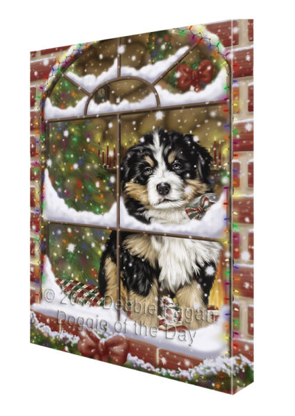 Please Come Home For Christmas Bernese Mountain Dog In Window Canvas Wall Ar