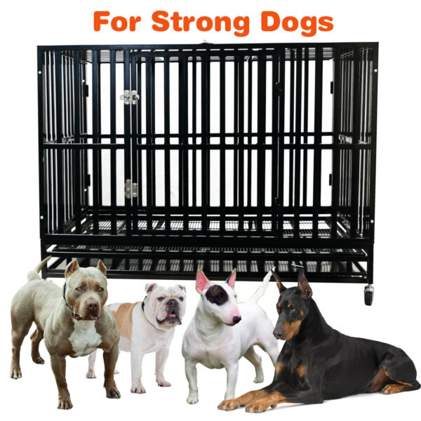 48'' Heavy Duty Metal Crate Dog Cage Square Tube Kennel Playpen w Wheels Tray