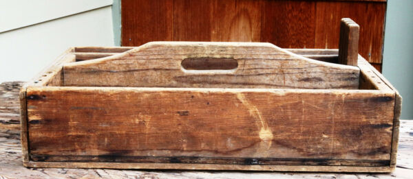 Large Carpenter Vintage Old Wooden Tool Box Tote Rustic Decor Planter Box Handle
