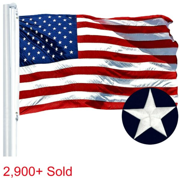 4#x27;x6#x27; ft American Flag US USA EMBROIDERED Stars Sewn Stripes Brass Grommets