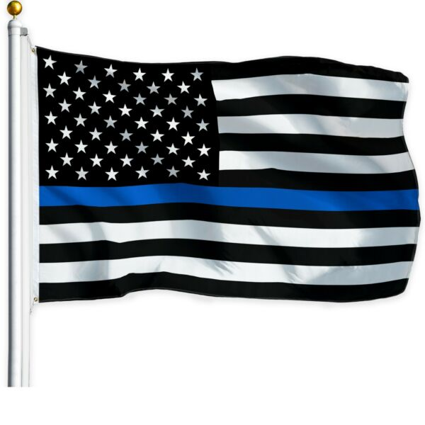 Thin Blue Line American Flag 3x5 ft US Black amp; White Police Policemen Support $6.99