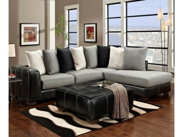 Royal furniture sectional sofa gray and black $600.00