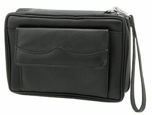 Leather Black Tobacco Pouch Travel Case with Strap Handle Holds 6 Pipes 7886