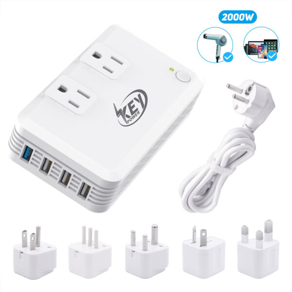 Travel Adapter USB 220V to 110V International Step Down Voltage Power Converters
