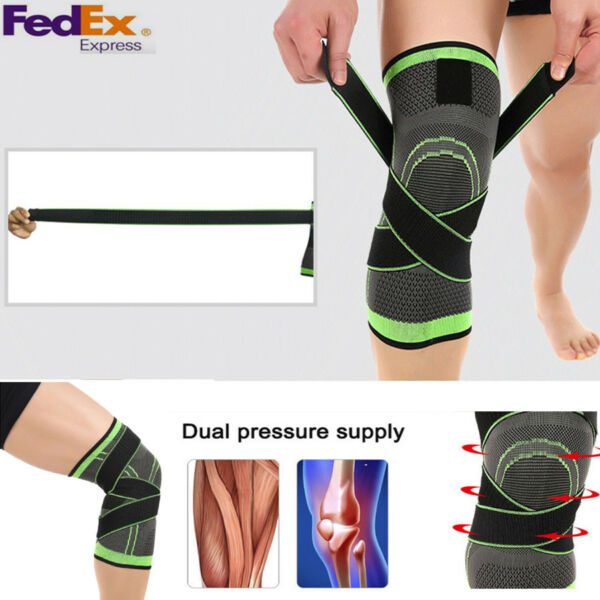 1pcs Running Jogging Sports 3D Weaving Knee Brace Breathable Sleeve Support US