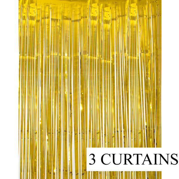 3 Metallic Gold Foil Fringe Curtain Backdrop Party Decor Photo Support 3ft x 8ft