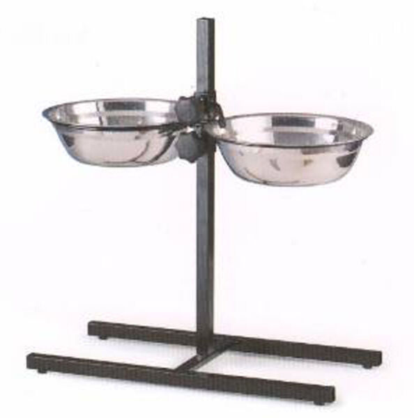 NEW 2 Quart Adjustable Raised Double Stainless Steel Diner Bowls Food Water 159 $24.59