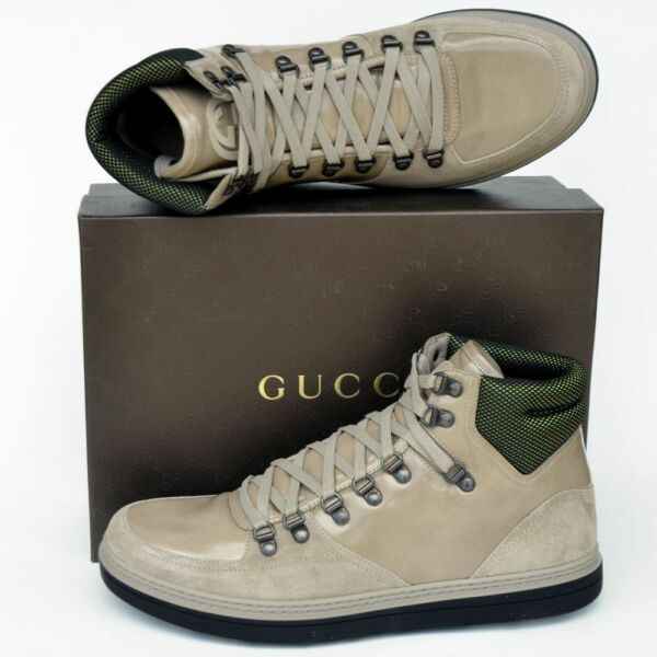 GUCCI New sz 9 G US 9.5 Authentic High Top Designer Mens GG Logo Sneakers Shoes