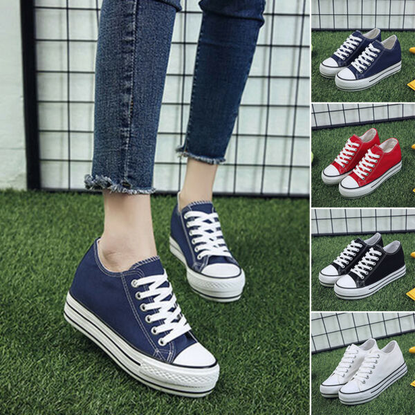 Casual Womens Canvas sport Lace Up High Top Wedge Heel sneakers Platform Shoes