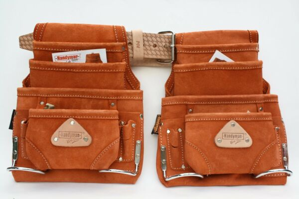10 Pocket Carpenter Nail & Tool Pouch 2 LEATHER waist bags with 1 MN Work Belt