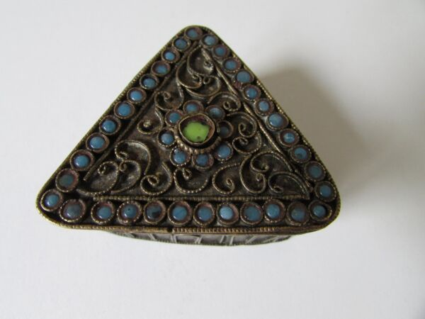 ANTIQUE OLD TIBETAN ETRUSCAN BRASS BRONZE PILL SNUFF BOX