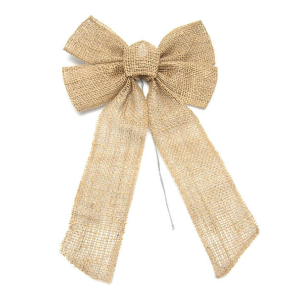 Natural Burlap Pre-tied Bow with Wire 17-Inch