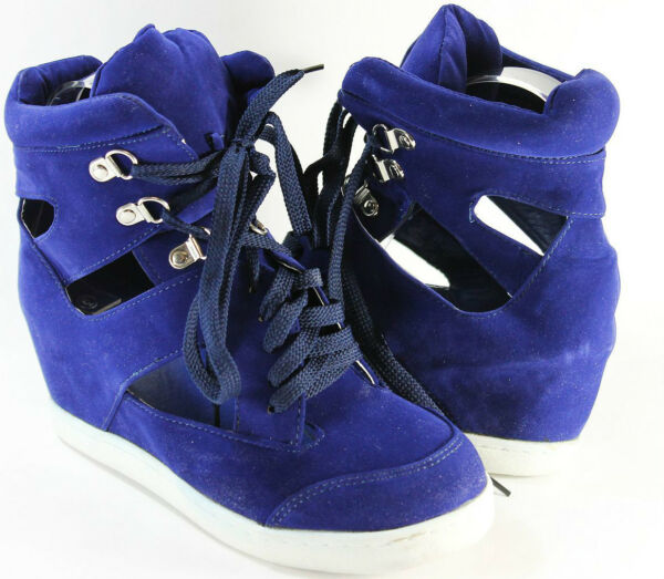 Women Sneaker Ankle Top Med High Wedge Fashion Hollow Out Lace Up Design