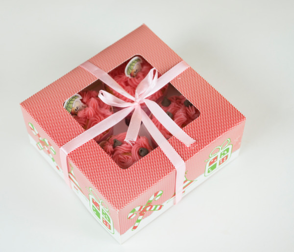 Christmas Cupcake BoxesInserts for Cupcake Muffin Holiday Party Gift 12 cts