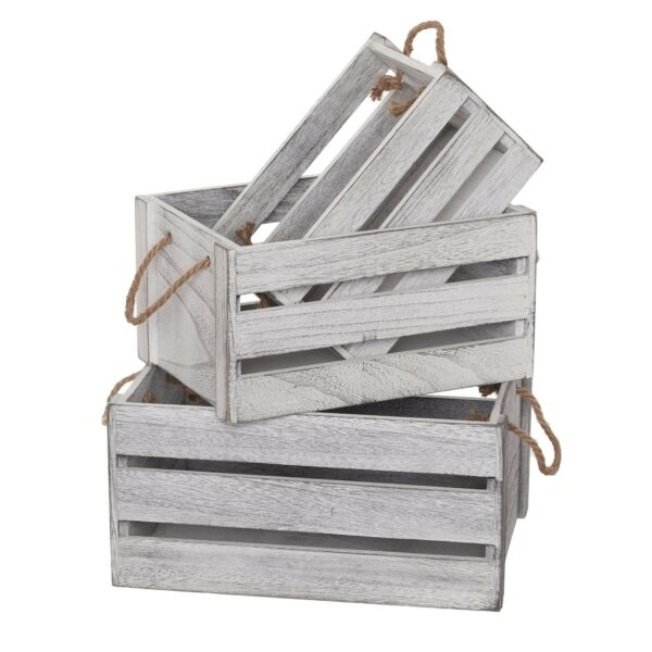 Wooden Crates For Storage Set of 3 With Rope Handles