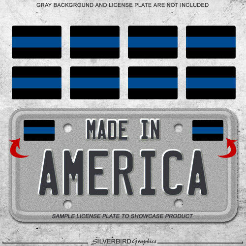 8x Thin blue line mini sticker decals license plate car police officers truck 3M $2.99