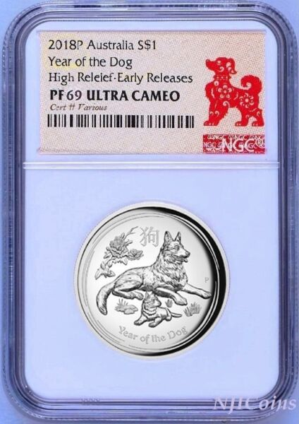 2018 Australia Lunar Year Of The DOG High Relief Proof 1oz Silver Coin NGC PF69 $96.99