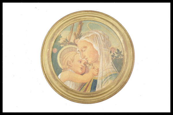 MATER AMABILIS WATERCOLORED PYROGRAPHY ON WOOD ROUND FRAME VIRGIN