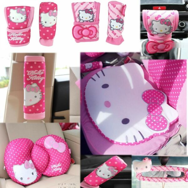 Hello Kitty Styling Car Accessories Cover Seat Belt Waist Cushion Steering Wheel