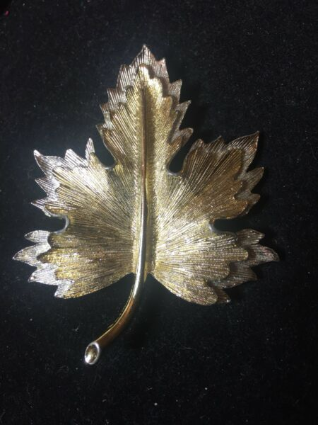 SARAH COVENTRY two tone GOLD & SILVER textured LEAF lot brooch pin vintage