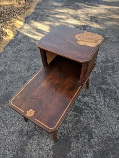dark stained wood two tier end table