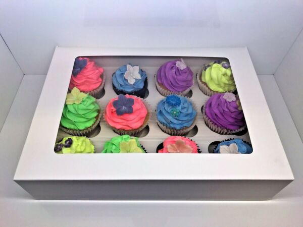10 x White Windowed Cupcake Boxes For 12 Cup Cakes With Removable Inner Tray